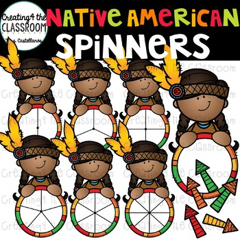 Native American Girl Spinners Clip Art {Thanksgiving Clip Art}