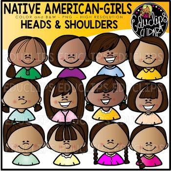 Native American Girls Heads & Shoulders Clip Art Set {Educlips Clipart}