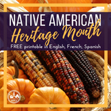 Native American Heritage Month FREE in Spanish, French, English