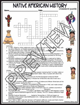 Native American Activities History Crossword Puzzle and Word Search Find
