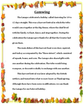 Native American Holidays Lesson