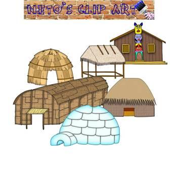 Native American Homes Clipart set