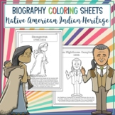 Native American Indian Heritage Leaders Biography Coloring Sheets