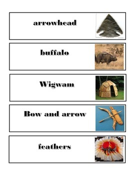 Native American/ Indian Word Wall words