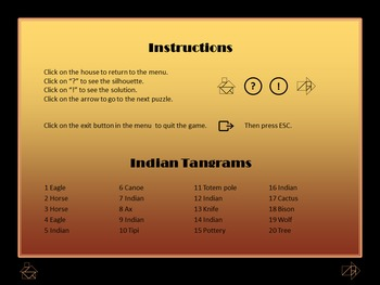Native American Indians - Tangram Game - Interactive PowerPoint / PPT