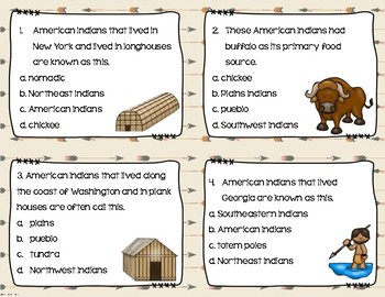 Native American Indians Task Cards (by region)