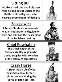 Native American Indians Word Wall Cards