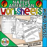 Native American Instrument Worksheets (World Music)
