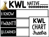 Native American KWL Chart {Freebie}