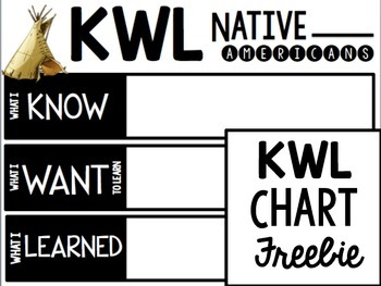 Native American KWL Chart {Freebie}