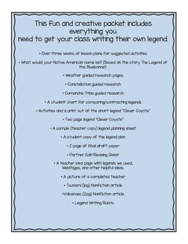 Native American Legends:Resources,ideas,&Activities to help with legend writing!