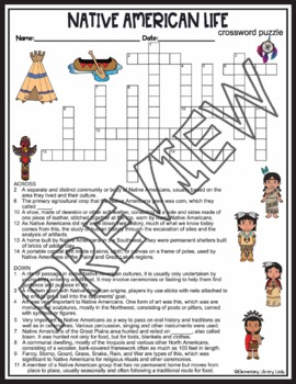 Native American Activities Life Crossword Puzzle and Word ...