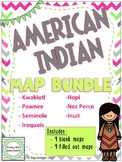 American Indian Map Bundle - Hopi Inuit Kwakiutl Pawnee Seminole Native American