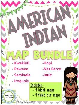 Native American Map Bundle - Hopi, Inuit, Kwakiutl, Pawnee