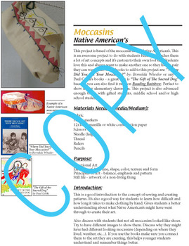 Native American Moccasins Art Lesson (common core) Social Studies