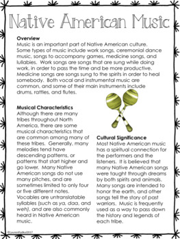 Native American Music Reading Passage and Questions - Great for Subs!
