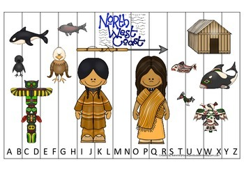 Native American North West Coast Indians theme Alphabet Sequence preschool game
