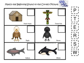 Native American North West Coast Indians themed Beginning Sounds preschool game.