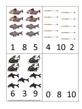 Native American North West Coast Indians themed Count and Clip preschool cards.