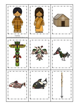 Native American North West Coast Indians themed Memory Matching preschool game.