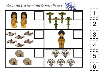Native American North West Coast Indians themed Match the Number printable.