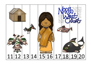 Native American North West Coast Indians themed Number Sequence Puzzle 11-20.