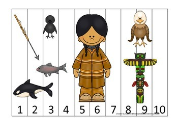 Native American North West Coast Indians themed Number Sequence Puzzle.