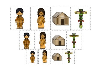 Native American North West Coast Indians themed Size Sorting preschool game.