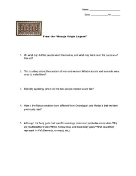 Native American Origin Stories Worksheet