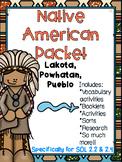 Native American Packet-Powhatan, Lakota, Pueblo