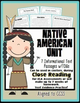 Native American Passages {Aligned to Common Core for Close Reading or Homework}