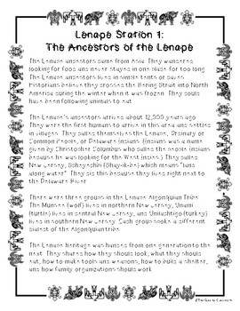 Native American Picture Book Project & Lenni Lenape Station Rotations