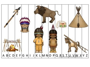 Native American Plains Indians themed Alphabet Sequence preschool activity.