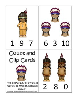 Native American Plains Indians themed Count and Clip Cards preschool activity.