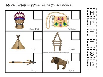 Native American Plains Indians themed Match the Beginning Sound preschool game.