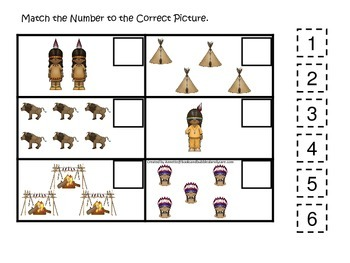 Native American Plains Indians themed Match the Number preschool printable.