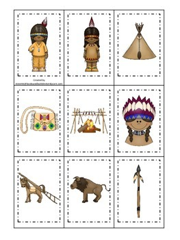 Native American Plains Indians themed Memory Matching Cards preschool activity.