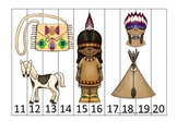 Native American Plains Indians themed Number Sequence Puzzle 11-20.  Preschool.
