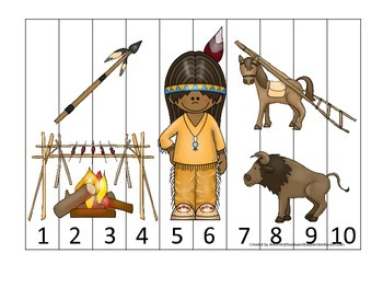 Native American Plains Indians themed Number Sequence Puzzle.  Preschool game.