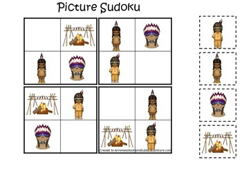 Native American Plains Indians themed Picture Sudoku preschool printable.