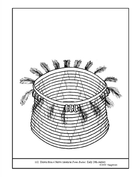Native American Pomo Basket.  Coloring page and lesson plan ideas