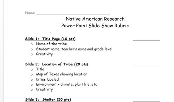 Native American Power Point Project Rubric