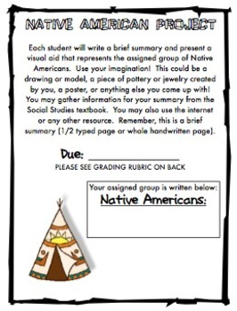 Native American Project Letter