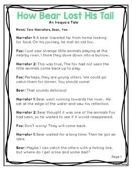 Native American Readers' Theater - How Bear Lost His Tail