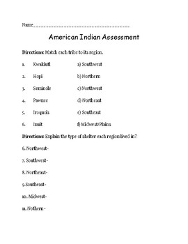 Native American Region Assessment