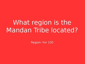 Native American Region Jeopardy