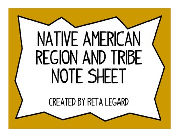 Native American Region and Tribe Note Taking Sheet
