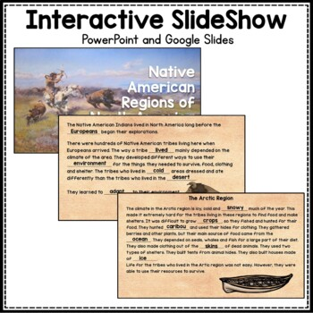 American Indian Regions: 3rd grade Interactive PowerPoint with Mini Book