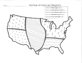 photo regarding Native American Regions Map Printable named Indigenous American Parts Map Worksheets Training Products