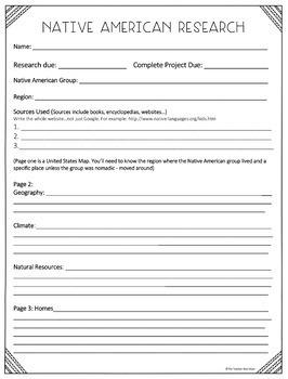 Native American Report for 3rd - 6th Grade